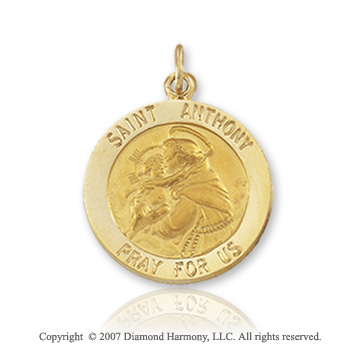 14k Yellow Gold 'Pray For Us' Petite St. Anthony Medal