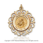 14k Yellow Goldold Ornate Carved Saint Anthony of Padua Medal