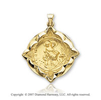 14k Yellow Goldold Elegant Ornate St. Anthony of Padua Medal