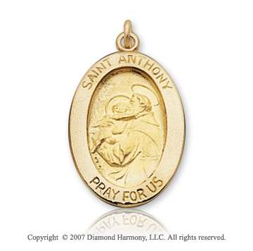 14k Yellow Goldold 'Pray for Us' Oval Large St. Anthony Medal