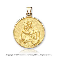 18k Yellow Gold Carved Small St. Anthony of Padua Medal