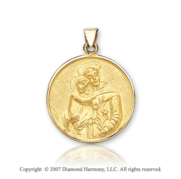 18k Yellow Gold Carved Large St. Anthony of Padua Medal