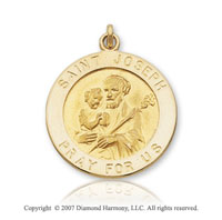14k Yellow Gold Large Circle Saint Joseph Medal