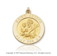 14k Yellow Gold Medium Circle Saint Joseph Medal