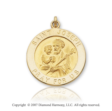 14k Yellow Gold Small Circle Saint Joseph Medal