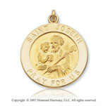 14k Yellow Gold Extra Large Circle Saint Joseph Medal