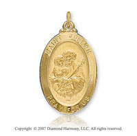 14k Yellow Goldold 'Pray For Us' Oval Saint Joseph Medal
