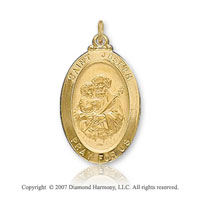 14k Yellow Goldold 'Pray for Us' Medium Oval St. Joseph Medal