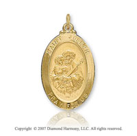 14k Yellow Goldold 'Pray for Us' Small Oval St. Joseph Medal