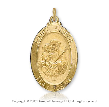 14k Yellow Goldold 'Pray for Us' Extra Large St. Joseph Medal