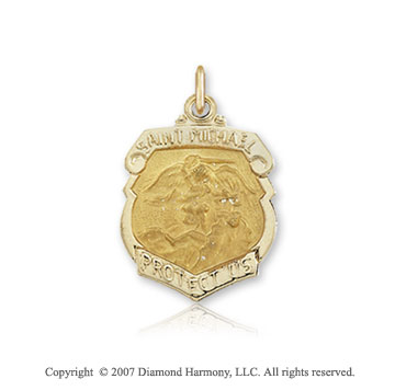 14k Yellow Gold Badge Style Small St. Michael Medal