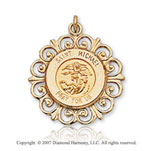 14k Yellow Goldold Triumphant Ornate Carved St. Michael Medal