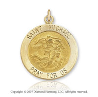 14k Yellow Gold Medium Saint Michael Medal