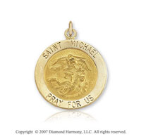 14k Yellow Gold Small Saint Michael Medal
