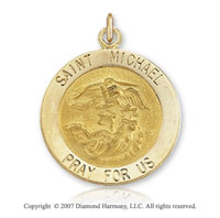 14k Yellow Gold Extra Large Saint Michael Medal