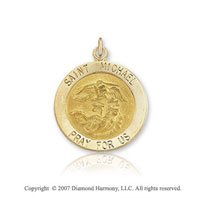 14k Yellow Gold Petite Saint Michael Medal