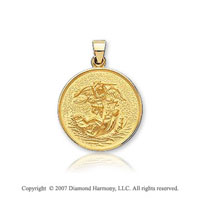 18k Y Gold Vi Caratorious Carved Small Saint Michael Medal