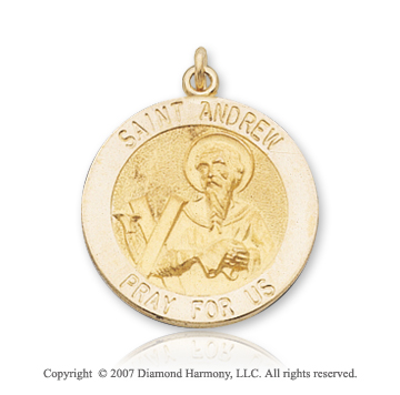 14k Yellow Gold 'Pray for Us' Carved Saint Andrew Medal