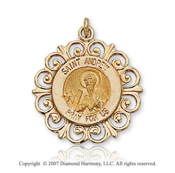 14k Yellow Gold Devotion Ornate Carved St. Andrew Medal