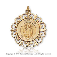 14k Yellow Gold Divine Ornate Carved Saint Anne Medal