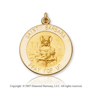 14k Yellow Goldold 'Pray for Us' Carved Saint Barbara Medal