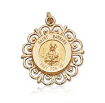 14k Yellow Gold 'Pray for Us' Ornate St. Barbara Medal