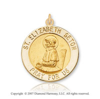 14k Yellow Gold Carved Saint Elizabeth Seton Medal