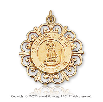 14k Yellow Gold Ornate Carved St. Elizabeth Seton Medal