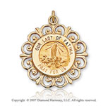 14k Yellow Gold Ornate Carved Our Lady of Fatima Medal