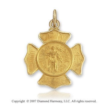 14k Yellow Gold Classic Carved Saint Florian Medal