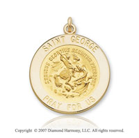 14k Yellow Gold 'Pray for Us' Carved Saint George Medal
