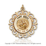 14k Yellow Goldold Elegant Ornate Carved Saint George Medal