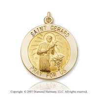 14k Yellow Gold Divine 'Pray for Us' Saint Gerard Medal