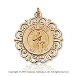 14k Yellow Gold 'Pray for Us' Carved St. Gerard Medal