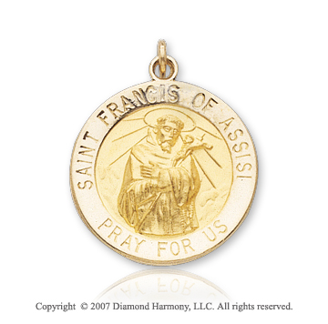 14k Yellow Goldold 'Pray for Us' Saint Francis of Assisi Medal
