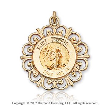 14k Yellow Gold 'Pray for Us' Ornate St. Francis Medal