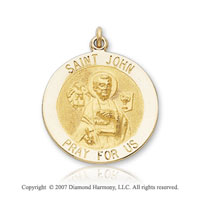 14k Yellow Gold Carved Saint John the Evangelist Medal