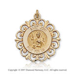 14k Yellow Goldold Ornate Carved St. John the Evangelist Medal