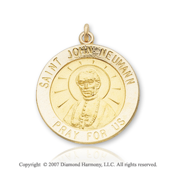 14k Yellow Gold 'Pray for Us' Saint John Neumann Medal