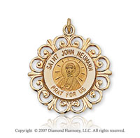 14k Yellow Gold Ornate Carved Saint John Neumann Medal