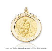 14k Yellow Goldold 'Pray for Us' Carved Saint Lazarus Medal
