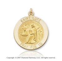 14k Yellow Gold 'Pray for Us' Carved Saint Luke Medal