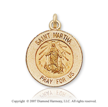 14k Yellow Gold 'Pray for Us' Carved Saint Martha Medal