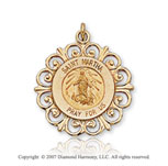 14k Yellow Goldold 'Pray for Us' Ornate Carve St. Martha Medal