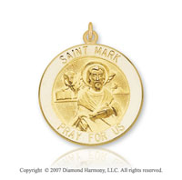 14k Yellow Gold 'Pray for Us' Carved Saint Mark Medal
