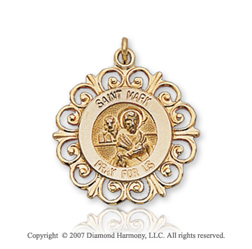 14k Yellow Gold 'Pray for Us' Ornate Saint Mark Medal