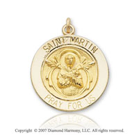14k Yellow Gold Carved Saint Martin de Porres Medal