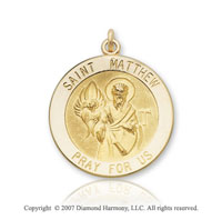 14k Yellow Goldold 'Pray for Us' Carved Saint Matthew Medal