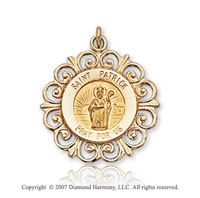 14k Yellow Gold 'Pray for Us' Ornate St. Patrick Medal