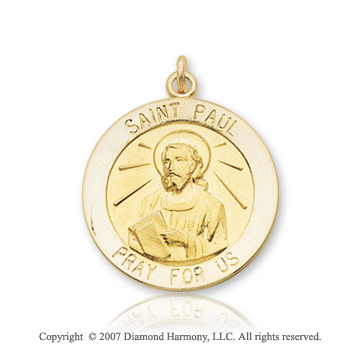 14k Yellow Gold 'Pray for Us' Carved Saint Paul Medal